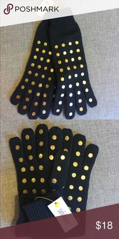 new! Kate spade Saturday black gloves Brand new Kate spade Saturday brand wool gloves win gold dots. Tags attached! 😀 kate spade Accessories Gloves & Mittens