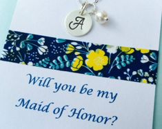 Will you be my Maid of Honor, Maid of Honor Necklace, Personalized Maid of Honor Gift, Wedding Jewelry, Sterling Silver