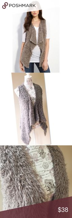 Kensie Taupe Shaggy Faux Fur Open Vest S In great pre owned condition. Extremely soft and fluffy. Feels like real Fur. Tagged a S but can easily fit medium and maybe larger BC it's very stretchy. No flaws. Kensie Jackets & Coats Vests