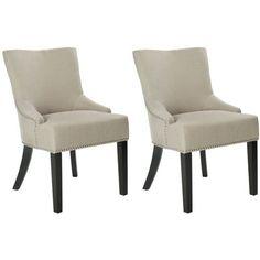 Safavieh Mercer Collection Christine Beige Viscose Nailhead 262 Pr Side ChairsLounge ChairsDining