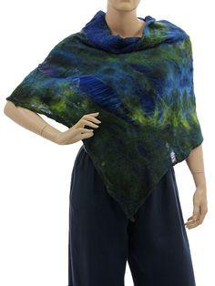 Lightweight unique shoulder poncho merino felt silk - cobalt blue green - Artikeldetailansicht - CLASSYDRESS Lagenlook Art to Wear Women's Clothing