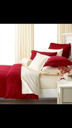 Cream and red bedroom idea