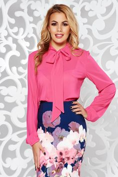 StarShinerS fuchsia elegant flared women`s blouse voile fabric, easy cut, long sleeves, voile fabric, thin fabric, slightly transparent fabric