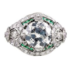 1stdibs - Art Deco Old European Cut Diamond Emerald and Platinum Ring explore items from 1,700  global dealers at 1stdibs.com