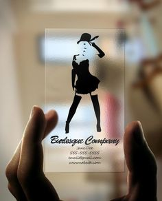 Clean and Simple Plastic Business Cards for Burlesque Company Transparent Business Cards, Clear Business Cards, Plastic Business Cards, Name Card Design, Makeup Artist Business Cards, Name Cards, Business Card Design, Business Ideas, Creative Cards