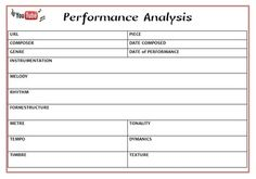 Performance Evaluation and Analysis Sheets  YouTube is a fantastic resource for teachers - and especially #music teachers!  This file contains TWO worksheets that can be used in conjunction with viewing a performance on YouTube:  1. Performance Evaluation Sheet  2 Analysis Sheet  #musiceducation