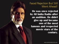 Faced Rejection But Still Went Ahead! Arguably the most recognizable voice in the country, he was once rejected by All India Radio after an audition. He didn't give up and became one of the most famous and respected movie stars of the century. (Amitabh Bachchan) Amitabh Bachchan Quotes, Self Improvement Quotes, English Quotes, Film Industry, Don't Give Up, Acceptance, Just Love, Movie Stars, Quotations