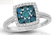"""H.J Namdar White Gold Blue & White Diamond Ring - 0.92 twt - $1,999  """"This sparkler certainly reminds me of the Ocean!"""""""