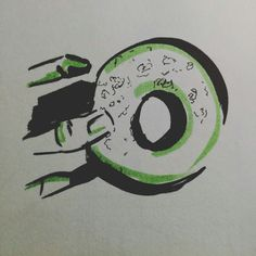Donuts food hand black and green