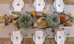 Ivory Burlap Runner, White Ironstone Dishes, White Linen Napkins, Heirloom Pumpkins, mini white pumpkins w/ white taper candles, Bittersweet vines intertwined