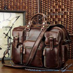 Брутальная кожаная сумка - множество карманов, коричневый глянец