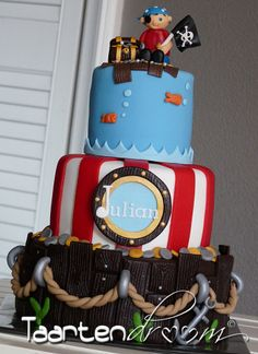 Ship Ahoy by Peggy van de Ven Pirate boy's birthday cake for a boy's birthday party