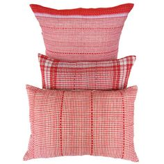 Sally Campbell, Handmade Textiles - Small Red Check with Red Stitching