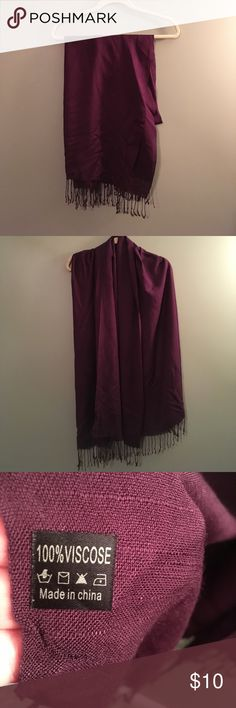 """Dark purple pashmina Dark purple pashmina.  It is 68"""" long x 28"""" wide.  It is in excellent used condition.  It comes from a smoke free and pet free home.  Bundle & save! Accessories Scarves & Wraps"""
