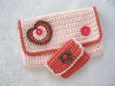 Crochet Clutch Set, Crochet Purse, Crochet purse set.
