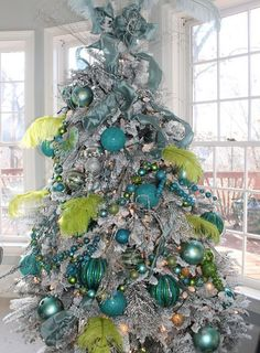 Blue and Green Christmas Decor . 24 Best Of Blue and Green Christmas Decor . Try something New Icy Blue Christmas theme Betterdecoratingbiblebetterdecoratingbible Peacock Christmas, Christmas Tree Design, Beautiful Christmas Trees, Elegant Christmas, Noel Christmas, Green Christmas, Christmas Colors, Xmas Tree, Christmas Tree Decorations