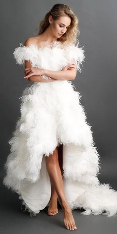 Trend Of The Year: 24 High Low Wedding Dresses ❤ high low wedding dresses off the shoulder with fringe katesofficial Wedding Dress With Feathers, Pretty Wedding Dresses, Wedding Dresses With Straps, Sweetheart Wedding Dress, Classic Wedding Dress, Wedding Dress Sleeves, Princess Wedding Dresses, Colored Wedding Dresses, Boho Wedding Dress