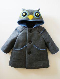 Little Grey Owl Boys Coat by littlegoodall on Etsy