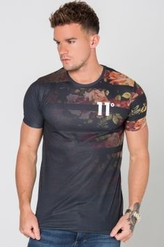 11 Degrees - Floral Shoulder Fade Sub Tee - Black | We love this 11 Degrees tee for adding a little edge to your outfit. It's perfect for a night out paired with some ripped skinnies and a classic bomber jacket. Get yours now @ Urban Celebrity!