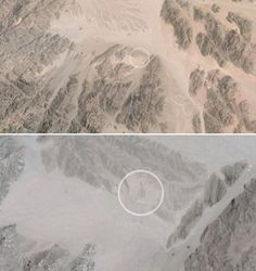 In the Egyptian desert, in the Sinnai Peninsula, you can see this from Google Images, but what exactly is it?  It is called the End of the World Cinema.
