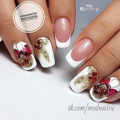 50 Beautiful Stylish and Trendy Nail Art Designs for Christmas Xmas Nails, New Year's Nails, Holiday Nails, Christmas Nails, Hair And Nails, Gel Nails, Christmas Christmas, Christmas Wreaths, Christmas Nail Art Designs