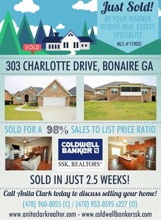 Just SOLD this 4 Bdrm/3 Bath home in Wellston Hills Subdivision at 303 Charlotte Drive, Bonaire GA 31005 (MLS # 119035).