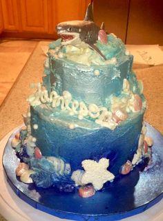 Shark ocean cotton candy blue ombre birthday cake