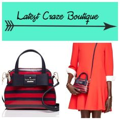 KATE SPADE Julia Street Striped Mini Maise Color is Rich Navy/Cherry Liqueur, printed glazed crosshatched fabric with crosshatched fabric trim, 14k gold plated hardware, interior lining is a matte jacquard with spades & dots, 7in(L) 5.5in(H) 2.9in(D) handle  drop 2.5in(L)  adjustable strap 22in(L) NWOT! •WILL ADD PICS OF ACTUAL ITEM ASAP• kate spade Bags Crossbody Bags