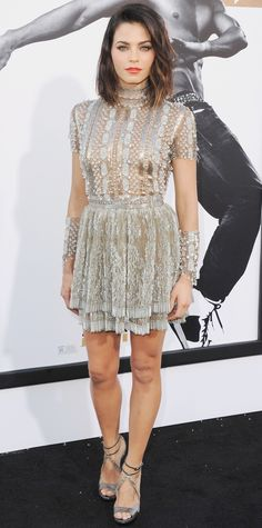 Jenna Dewan-Tatum supported her hubby Channing and hit the Magic Mike XXL premiere in an exquisite silver sequin Reem Acra dress, complete with matching arm bands and metallic strappy sandals.