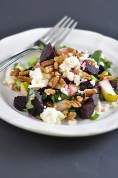 Beet, Pecan and Pear Salad (aka Heat's Beets) - Super easy and good!  Mitzi tip...you can get pre cooked and peeled beets at the grocery store now!