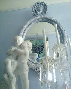 My new mirror design in the Victorian style, with a grand crest, finished in a lovely frosted French grey, I hope you like my work from ciel de lit