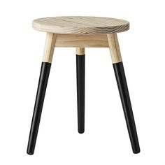 Round x Wood Stool, Black & Natural. This casual modern round stool features a rich black feet make a nice contrast to the natural wood top and legs. Dipped Furniture, Wood Furniture Legs, Into The Woods, Black Stool, Round Stool, Ottoman Stool, Industrial, Vanity Stool, Wooden Stools