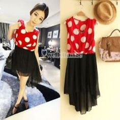 Sweet dot sleeveless asymmetric chiffon mini dress