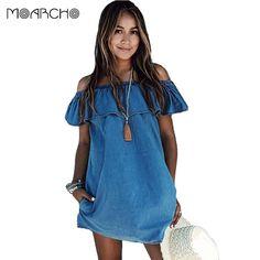 9c7991189f6b MOARCHO 2017 dress New Fashion Designer Loose Slash neck Jeans Dresses  Summer Casual Sleeveless ladies elegant Denim Dresses  Visit to Buy