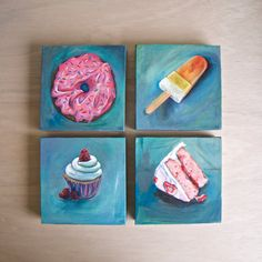 Yum! Desserts! - Strawberry Sprinkle Donut, Orange Popsicle, Angel Coconut Cake Slice, Frosted Cupcake - Original Acrylic Painting on Canvas