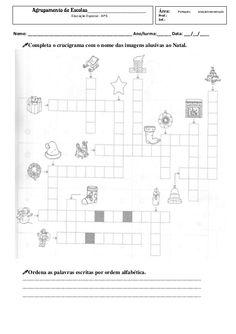 Ficha de palavras cruzadas de natal e verbos