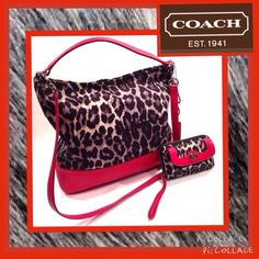 "COACH Large Leopard Print & Red Leather Tote Bag Very large and roomy authentic COACH leopard print canvas with red leather trim tote bag.  Excellent condition inside and out, aside from one very small scratch to the bottom portion of the front leather trim.  Just to the left of where the embossed COACH name is located.  Can't even see it!  I had to really examine the bag closely before I even did!  Measures 14.5"" wide x 13"" high.  Matching wristlet wallet also for sale.  ⚫️⚪️ Coach Bags…"