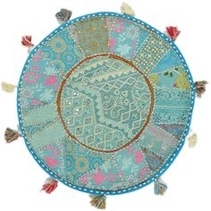 "22"" Patchwork Floor Pillow Throw Decorative Cushion Ethnic India Decor $24.99"
