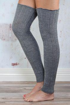 Grey Thigh High Leg Warmers