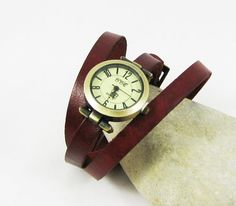 Personalized teen watch with leather wrap watch to by Cristalizade