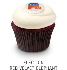 Georgetown Cupcake | DC Cupcakes | Menu | Red velvet cupcake with fondant Republican elephant