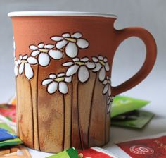 Tea cup with flowers / daisies motif gift by MugsAtFirstSight