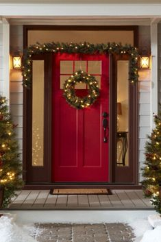 Two 3.5-ft pre-lit potted Christmas trees, a 24-in wreath and 9-ft garland add instant holiday cheer to your home. #lowes #cybermonday