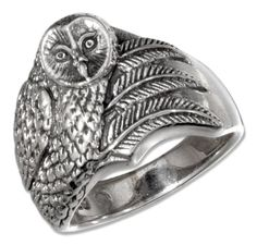 Sterling Silver Antiqued Owl Ring