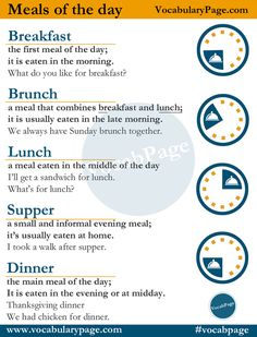 Meals of the day #English www.vocabularypage.com