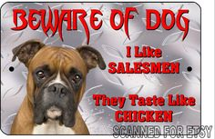 Beware Of Dog Sign, Funny Boxer,  No Trespassing or Soliciting  Aluminum Plaque, Metal, Weatherproof, Humorous