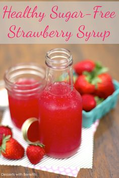 This Healthy Homemade Sugar-Free Strawberry Syrup has all the flavor of strawberries but in liquid form! This all-natural, low-calorie syrup contains no high fructose corn syrup, granulated sugar or artificial food coloring. Brownie Desserts, Oreo Dessert, Mini Desserts, Coconut Dessert, Sugar Free Desserts, Sugar Free Recipes, Low Carb Desserts, Healthy Dessert Recipes, Low Carb Recipes