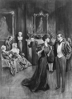 American Gilded Age era society members, gathered, in this parlor scene, c.1906. American Illustrator: Alonzo Kimball, (1874-1923). Kimball's illustrations were primarily created to appear in, The Saturday Evening Post, and Scribner's Magazine, during the late 19th-century, and early 20th-century. ~ {cwl}