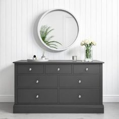 Buy Harper Grey Solid Wood Wide Chest of Drawers from - the UK's leading online furniture and bed store Ikea 2 Drawer Chest, Wide Chest Of Drawers, Bedroom Chest Of Drawers, Grey Drawers, Drawers For Sale, Dresser As Nightstand, Large Drawers, Grey Bedroom Furniture, Bedroom Furniture Makeover
