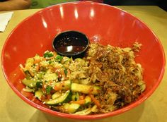 Luau Pulled Pork Bowl:Rice or noodles, pulled pork and sautéed vegetables from Fire Island Grill in Simi Valley #Food #Noodles forked.com